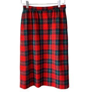 Vintage Pendleton Tartan Plaid Midi Skirt Petite
